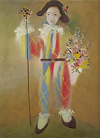 tablou picasso - paul en arlequin avec des fleurs, 1923