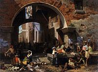 tablou albert bierstadt - roman fish market. arch of octavius