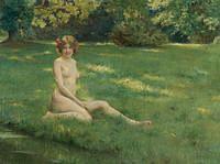 tablou julius leblanc stewart - naked on the lawn (1899) (nud)
