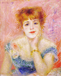 tablou pierre auguste renoir - portrait of jeanne samary (la reverie)