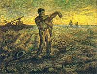 tablou van gogh - evening - the end of the day (after millet), 1889