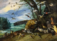 Tablou canvas jan van kessel - birds fighting