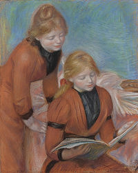 tablou pierre auguste renoir - reading, 1889