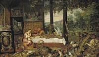 tablou rubens - allegory of the five senses. taste (together with jan brueghel the elder) (1618)