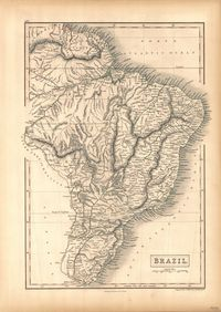 tablou harta antica brazilia, 1847
