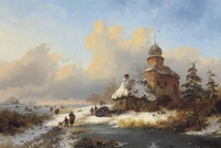 Tablou canvas frederik marinus kruseman –  winter landscape with ice amusements on a frozen river