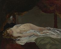 tablou gustave courbet - sleeping nude