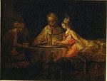 tablou rembrandt - esther and ahasuerus (1660)