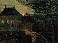 tablou van gogh - the parsonage at nuenen at dusk, seen from the back, 1885