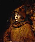 tablou rembrandt - artist's son, titus van rijn in the image of a monk (1660)