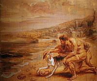tablou rubens- hercules on the beach (1636)