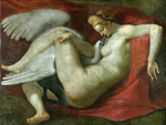 tablou michelangelo - leda and the swan
