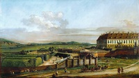 Tablou canaletto - the imperial lustschloss schloss hof, view from the north, 1758