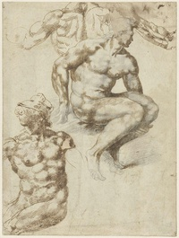 tablou michelangelo buonarroti, two nudes and a back, 1485