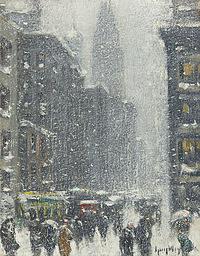 tablou guy carleton wiggins - blizzard in new york