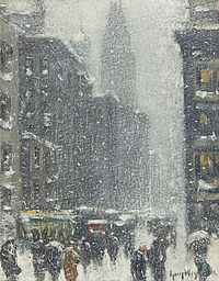 Tablou canvas guy carleton wiggins - blizzard in new york