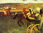 tablou 1880  edgar degas - le champs de courses, jockeys amateurs pres d'une voiture