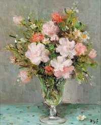 tablou marcel dyf - roses in a glass, 1983