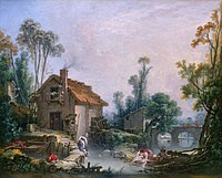 tablou francois boucher - landscape with watermill (1755)