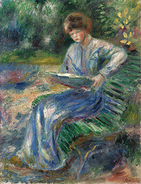 tablou pierre auguste renoir - reading woman on the bench, 1905