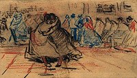 Tablou canvas van gogh - couple dancing, 1885