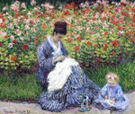 tablou claude monet   camille monet with a child in the garden [1875]