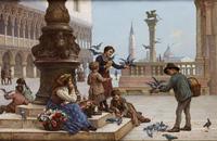 Tablou canvas antonio ermolao paoletti - children feeding pigeons