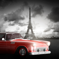 Tablou canvas retro car, paris, bicolor (7)