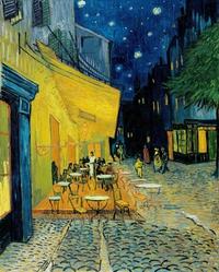 tablou van gogh - terrace of a café at night (place du forum), 1888