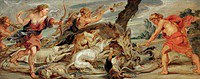 Tablou canvas rubens- atalanta and meleager hunting for wild boar calydonian (1628)