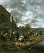 tablou jan steen - landscape with an inn and skittles