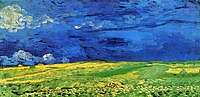 Tablou canvas van gogh - wheat field under clouded sky