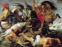 Tablou canvas rubens - hippopotamus and crocodile hunt (1615)