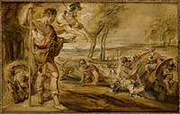 Tablou canvas rubens - cadmus with the defeated dragon (1690)