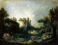 tablou francois boucher - landscape with pond (1746)