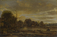 tablou aert van der neer - a river landscape with a village