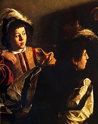 tablou caravaggio - calling of san matteo (detail 2)