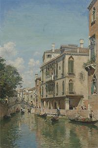tablou federico del campo - a busy day on a venetian canal