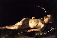 tablou caravaggio - sleeping cupid (1608)