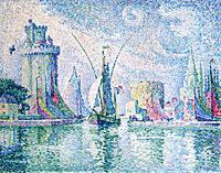 tablou paul signac - the green tower, la rochelle, 1913