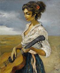 tablou marcel dyf - rosette, gypsy with guitar, 1956