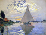 tablou claude monet   sailboat at le petit gennevilliers, 1874