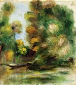 tablou Renoir - banks of the river, a boat