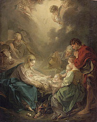 tablou francois boucher - adoration of the shepherds (1750)