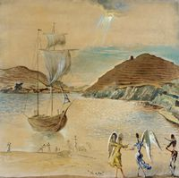 Tablou canvas salvador dali - landscape of port lligat with familiar angels and fishermen,1950