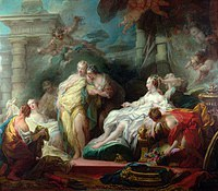 tablou jean honore fragonard - psyche showing her sisters cupid's gift (1753)