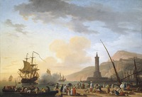 tablou claude joseph vernet - a seaport at sunset, 1749