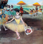 Tablou canvas degas - la danseuse au bouquet saluant