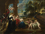 tablou peter paul rubens - the holy family with saints in a landscape