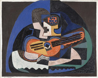 tablou picasso - still life with guitar and compote